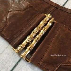 B-Low the belt leather belt w/ gold bamboo clasp